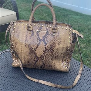 Michael Kors Tan Snakeskin with gold accents purse